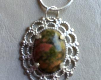 Small Multicolor Unakite Pendant in Silver Filigree Mount