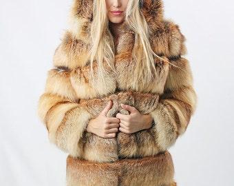 Real fox fur coat in cross alignment