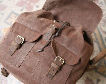 Waxed Canvas Backpack Brown Waterproof Leather Cotton Gift student laptop Present