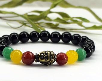 Rasta Buddha Bracelet, Rasta Gemstone Bracelet, Healing Bracelet, Mala Bracelet, Reggae Bracelet, Rasta Colors, Buddha Bracelet, Healing