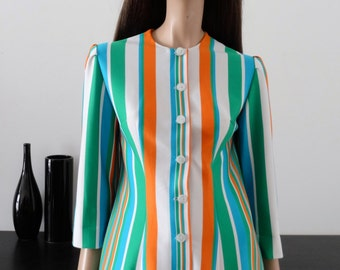 Veste vintage 60/70'S blanche rayures orange/bleu/vert taille 38/ uk 10 / us 6