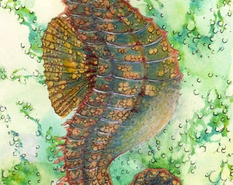 Seahors In Its Element - Watercolor Collage And Ink - Unique