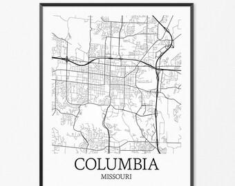 Columbia map print Printable Columbia map art South Carolina