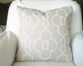 Tan Off White Decorative Throw Pillow Covers Cushion Tan Off White Geometric Bordeaux Linen Look Pillows Couch Bed, Tonne on Tone, ALL SIZES