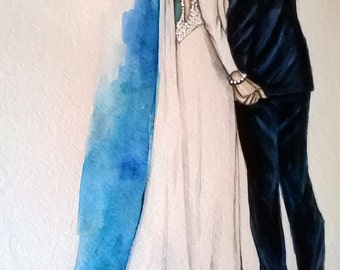 Custom Wedding Illustration.Wedding Gift, Save the Date Art, Custom Wedding Custom  illustration of 2 persons