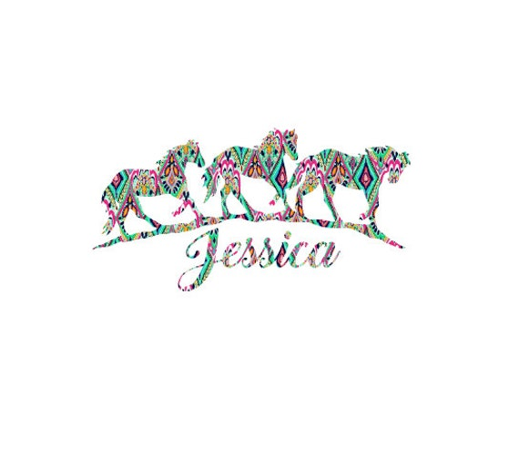Free Shipping-Monogram Decal, Lilly Pulitzer Decal,Horse Decal, Wild Horses, Lucky Horseshoe,Cowgirl, Cowboy, Laptop, Monogram Sticker