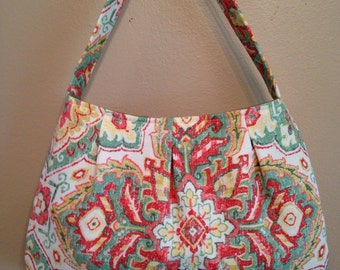 Handmade Pleated Handbag, Small Citrus Multi