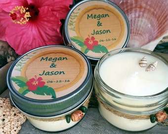 Set of 50 Wedding Favor Candles - Custom Soy Candles - Tropical Wedding - Beach Wedding - Custom Wedding Gifts - 4 oz Soy Candle