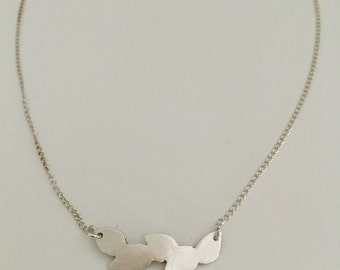 Leaves pendant, necklace, fine silver with sterling silver chain