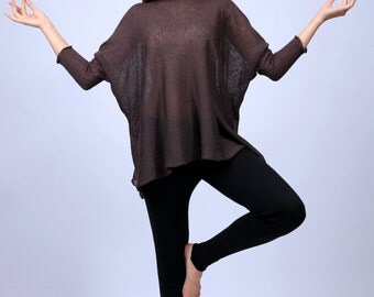 NEW Brown Over Sized Long Sleeve for Woman,tunic yoga,Extra Long Knit Tunic-Boxy Crew Neck Pull Over Tunic - All Sizes And Colors Available