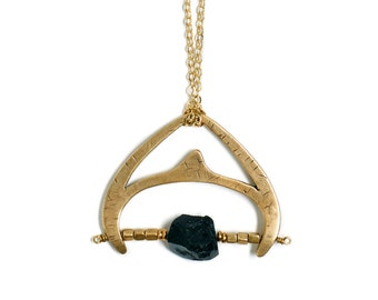 Brass Statement Necklace Black Tourmaline Beads Brass Pendant Necklace Gold Statement Jewelry Beaded Necklace Long Gold Chain Chunky Jewelry