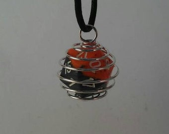 Roleplaying D20 Orange/Grey Necklace