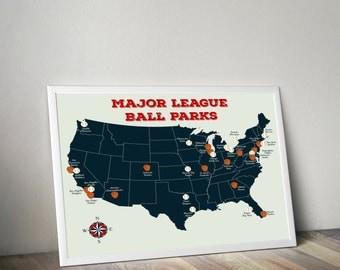 Baseball Map Etsy - Map of us baseball stadiums