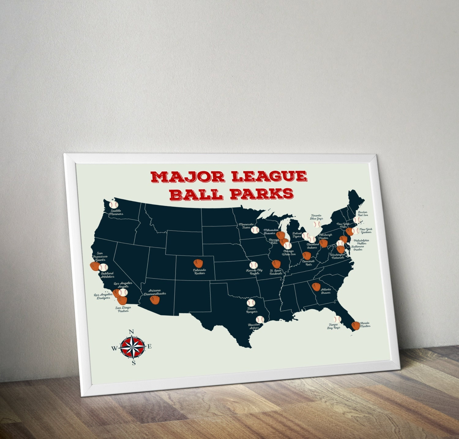 Baseball Stadium Map Major League Ball Parks Map US Map - Us map poster 24x36