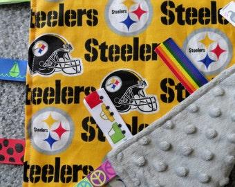 Pittsburg Steelers Lovey/Blanket, Sensory Lovey, Baby Shower Gift, Pittsburg Steeler Baby, I Spy Blanket,  Sensory Blanket, Steeler Baby