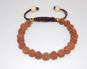 Bodhi Tree Seeds 8mm Beads Bracelet,Buddhist Rudraksha Seed Beads,Drawstring,Shamballa Bracelet,Man,Woman,Prayer,Yoga,Protection,Meditation