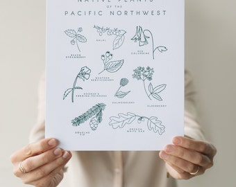 Native Plants of the Pacific Northwest Botanical 8x10 Letterpress Art Print