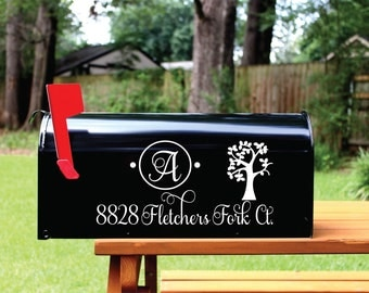 Mailbox Decal Set of 2- Custom Vinyl Tree Initial Planet Eco Friendly Nature Mail Box Address Numbers Cover