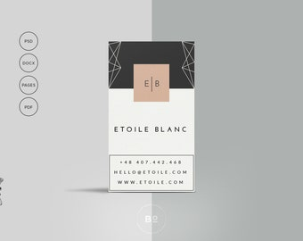 2 Premade Business Card Templates | Set of 2 Printable Business Cards | Hipster Card Design | Clean Personal Card Design | Instant Download