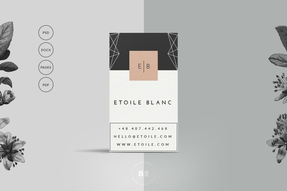 Premade Business Card Templates Set Of Printable - Business card template for pages