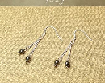 Gemstone Pyrite earrings, Double dangle Pyrite earrings, 925 Sterling Silver hooks, Crystal earrings, Chakra jewelry, InfinityCraftArts