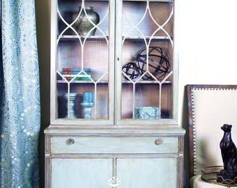 Sold - Hand Painted Blue China Cabinet