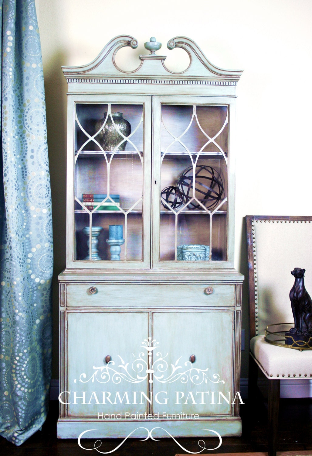 Sold Hand Painted Blue China Cabinet