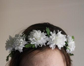 White Dahlia Floral Crown