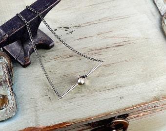 Elegant Necklace Silver, Silver Pyrite Necklace, Edgy Necklace, Pyrite Stone Necklace, Silver Bar Necklace Stone, Rock Chic Necklace