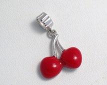 925 sterling silver red enamel dangle cherries cherry fruit food pair theme slide bead bracelet charm 4 pandora equivalent necklace pendant