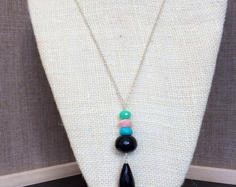 Gemstone Necklace - Turquoise Necklace - Long Necklace - Silver Necklace - Gem Drop Necklace - Long Gemstone Sterling Silver Necklace