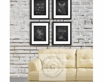 Willys Jeep Decor Wall Art Prints set of 4 unframed prints, Antique Jeep military vehicle parts patent, man cave decor, gift for jeep lover