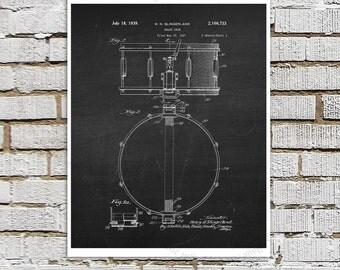 Snare Drum Patent Art #5 on chalkboard background - Music room Decor, Musician Wall Decor, Gift for Drummer, Drummer Decor idea, Wall Art
