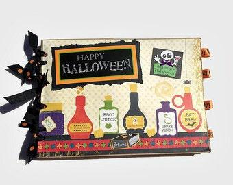 Halloween Premade Scrapbook. Halloween Photo Album. Paper bag Scrapbook