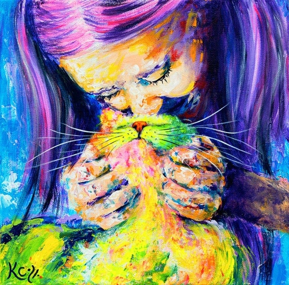 "Cat Wall Art - Cat Lady Gift, Cat Art Print ""Namaste"", Woman and Cat, Colorful Cat Artwork, Impressionist Cat Print of My Cat Painting."