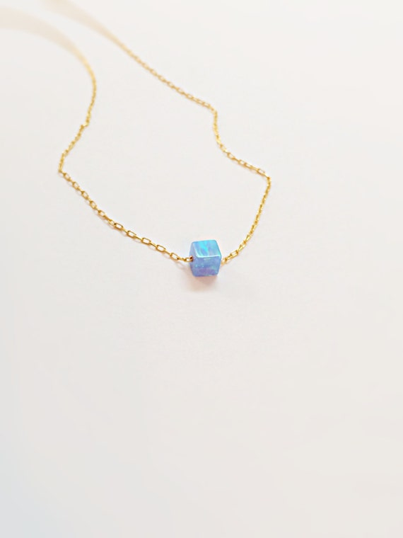 dot opal necklace dainty opal jewelry simple necklace with