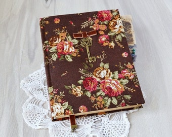 A5 floral writing journal Handmade notebook Fabric covered journal Old style journal Vintage notebook Coffee pages Womens personal diary