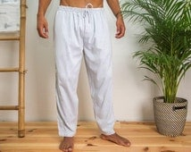 Lounge Pants - light, loose fitting and exceptionally soft men's pyjama bottoms, 100% premium-quality cotton | White - Thin Black Stripes
