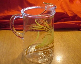 Vintage Libby Glass Co., Wheat Design, Clear Glass Pitcher with Ice Lip. 1970's