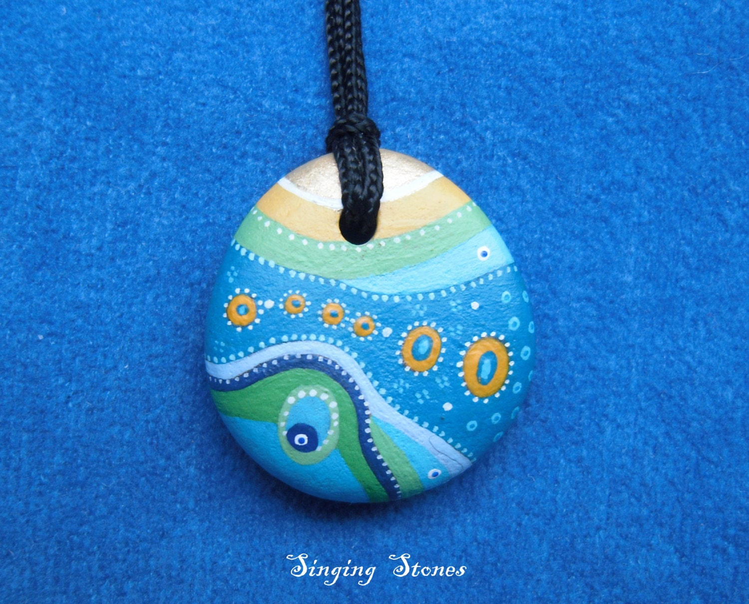 Gifts Made Of Stone : Hand painted stone necklace unique gift made with love in