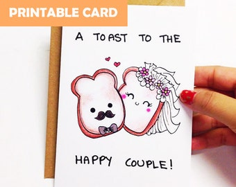 Printable wedding card funny, funny Wedding Congratulations card, engagement card funny, wedding congrats, toast to the happy couple