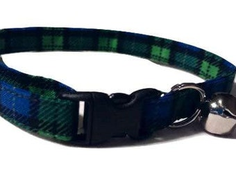Blue Green Plaid Cat or kitten Collar Adjustable Scottish Kilt Tartan Fabric with bell and Break Away Buckle Quick Release S M L