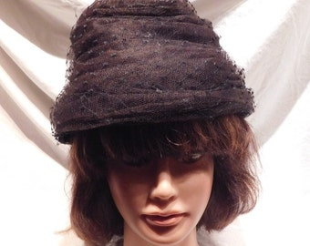 Vintage Beehive Hat Black Lace Union Made