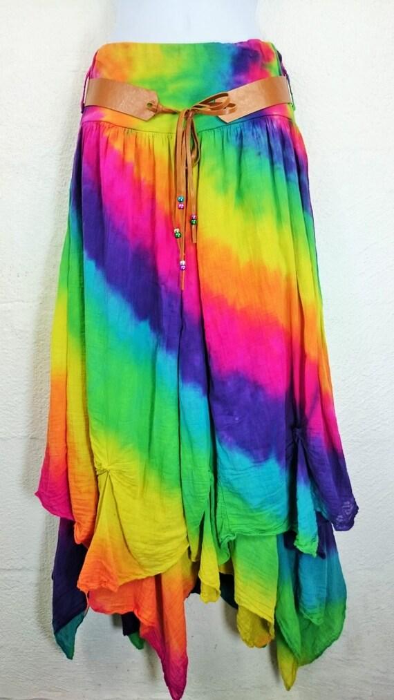 tie dye skirt festival skirt hippy skirt rainbow skirt