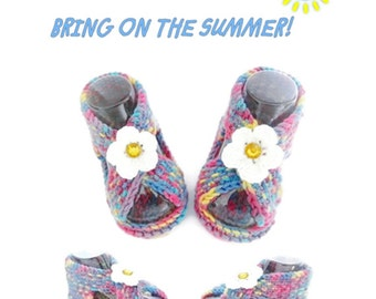 Hand Knit Baby Sandals, Daisy Sandals, Summer Sandals, Rainbow Sandals, Handknit, Multicolor Booties, Baby Shoes, Baby Shoes
