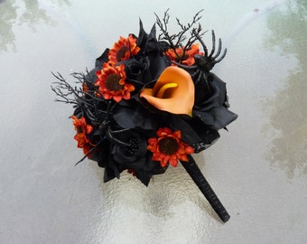 Black & Orange Bouquet, Halloween Bouquet, Spider Bouquet, Goth Bouquet, Fall Bouquet