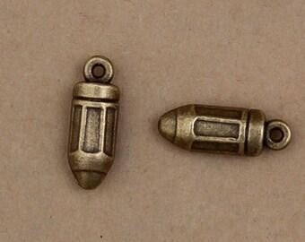 100pcs 18x6mm Antique Bronze Bullet Charm Pendants Xk014
