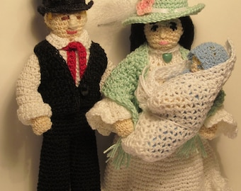 OOAK 1800s Crocheted Family with Baby