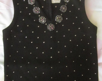 Cabot Vintage Black Wool Knit Top with Rhinestone Decorations