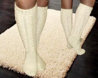 Pale White woollen knee Socks Golfs knitted